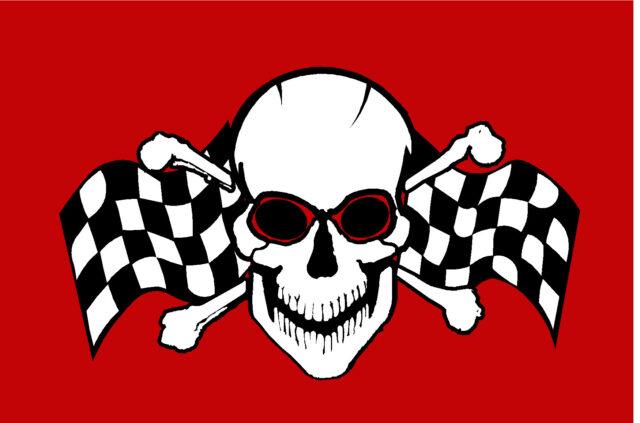 12x18 Skull & Flags