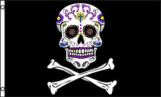 Pirate Sugar Skull Flag